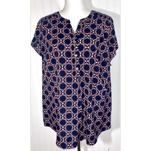 Croft & Barrow 1x Top Navy Coral Turquoise Tunic
